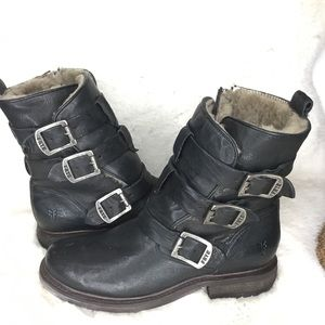 FRYE MOTO VALERIE SHEARLING LEATHER BOOTS SZ 8.5